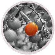 Cherry Tomatoes Partial Color Round Beach Towel