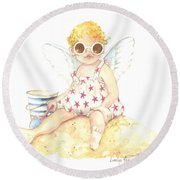 Cherub In The Sand Round Beach Towel