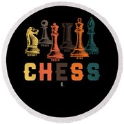 Chess Master Player Pawn Bishop Knight Queen King Graphic Round Beach Towel