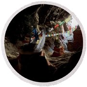 Chhungsi Cave From The Inside, Mustang Round Beach Towel