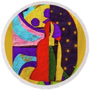 Chiang Mai Collage 12 Round Beach Towel
