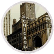 Chicago Cinema Theater - Vintage Photo Art Round Beach Towel