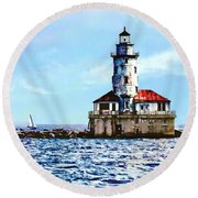 Chicago Il - Chicago Harbor Lighthouse Round Beach Towel