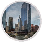 Chicago Skyline #1 Round Beach Towel