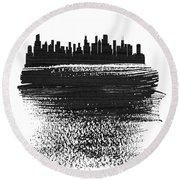 Chicago Skyline Brush Stroke Black Round Beach Towel