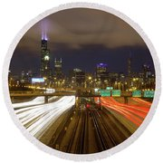 Chicago Skyline South Side View Round Beach Towel