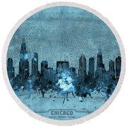 Chicago Skyline Vintage 4 Round Beach Towel