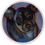 chihuahua Wow Wow Round Beach Towel