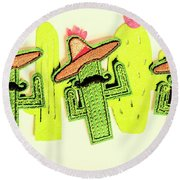 Chili Con Cacti Round Beach Towel