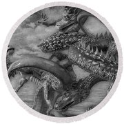 Chinese Dragons In Black And White Round Beach Towel