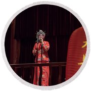 Chinese Opera Singer Onstage Round Beach Towel