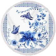 Chinoiserie Blue And White Pagoda With Stylized Flowers Butterflies And Chinese Chippendale Border Round Beach Towel