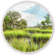 Chisolm Island - Marsh At Low Tide Round Beach Towel