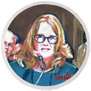 Christine Blasey Ford Testifies Before Senate Round Beach Towel