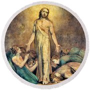 Christ Appearing To The Apostles After The Resurrection - Digital Remastered Edition Round Beach Towel