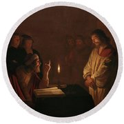 Christ Before The High Priest, 1617 Round Beach Towel