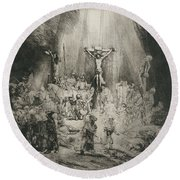 Christ Crucified Between The Two Thieves   The Three Crosses          Round Beach Towel