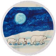 Christmas Bears Round Beach Towel