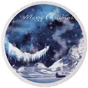 Christmas Card With Frozen Moon Round Beach Towel