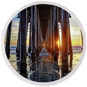 Christmas Eve At The Pier Round Beach Towel