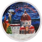 Christmas Greeting In Florence  Round Beach Towel