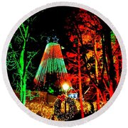 Christmas Red And Green Round Beach Towel
