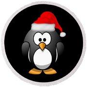 Christmas Santa Penguin Round Beach Towel