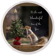Christmas Squirrel Most Wonderful Time Of The Year Square Round Beach Towel