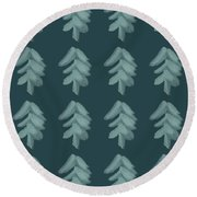 Christmas Tree Pattern Round Beach Towel