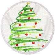 Christmas Tree With Decoration Round Beach Towel
