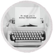 Christmas Wishes Written On An Old Typewriter. Round Beach Towel