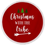 Christmas With The Tribe Round Beach Towel