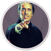 Christopher Lee As Dracula Round Beach Towel