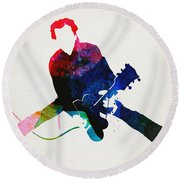 Chuck Berry Watercolor Round Beach Towel