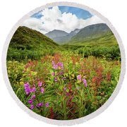 Chugach Midsummer Round Beach Towel by Tim Newton
