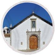 Church Of Cacela Velha In Portugal Round Beach Towel