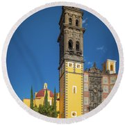 Church Of San Francisco In Puebla Round Beach Towel