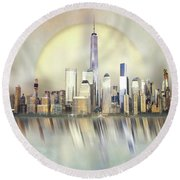 City In The Sky Round Beach Towel