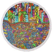 City Meets The Bay Round Beach Towel