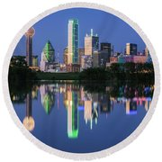 City Of Dallas, Texas Reflection Round Beach Towel by Robert Bellomy