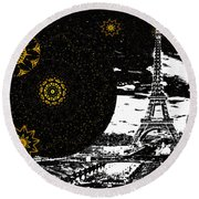 City Of Lights - Kaleidoscope Moon For Children Gone Too Soon Number 6  Round Beach Towel