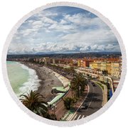 City Skyline Of Nice In France Round Beach Towel