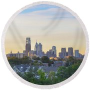 Cityscape - Philadelphia - City Of Brotherly Love Round Beach Towel by Bill Cannon