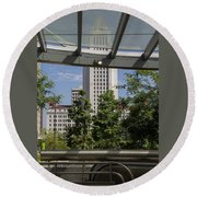 Civic Center Metro Station Los Angeles Round Beach Towel