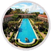 Classic Awesome J Paul Getty Architectural View Villa  Round Beach Towel