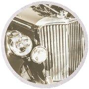 Classic Car Chrome Round Beach Towel