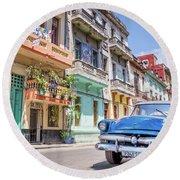 Classic Car In Havana, Cuba Round Beach Towel
