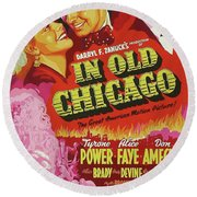Classic Movie Poster - In Old Chicago Round Beach Towel