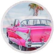 Classic Vintage Pink Chevy Bel Air  8x10 Scene Round Beach Towel
