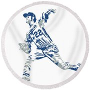 Clayton Kershaw Los Angeles Dodgers Pixel Art 30 Round Beach Towel